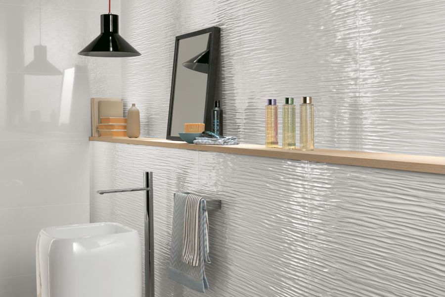 3D Wall Wave White Glossy
