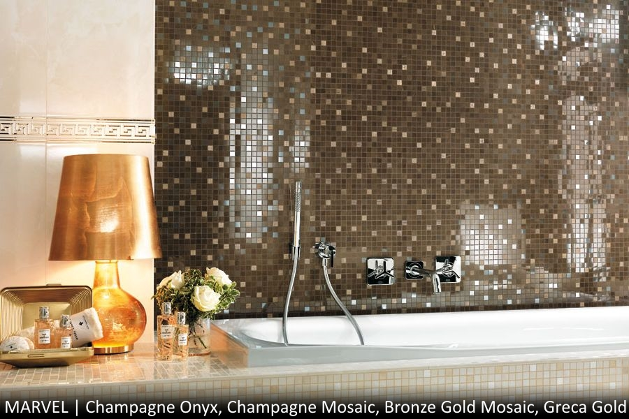 Atlas Concorde Marvel Champagne Onyx, Marvel Champagne Mosaic, Marvel Bronze Gold Mosaic, Marvel Greca Gold