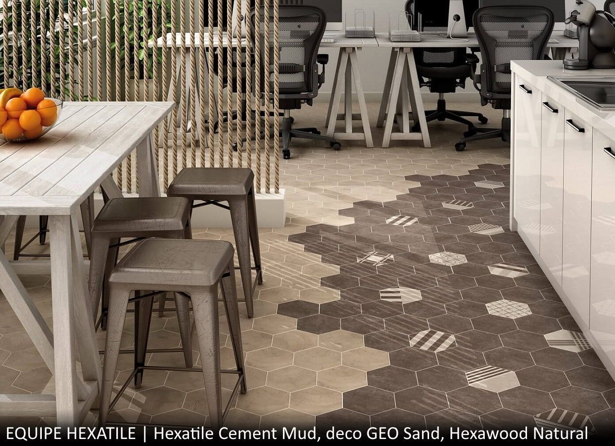 Hexatile Cement Mud, deco GEO Sand, Hexawood Natural