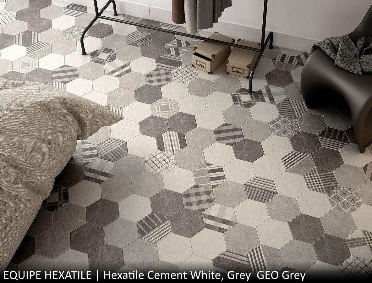Hexatile Cement White, Grey  GEO Grey
