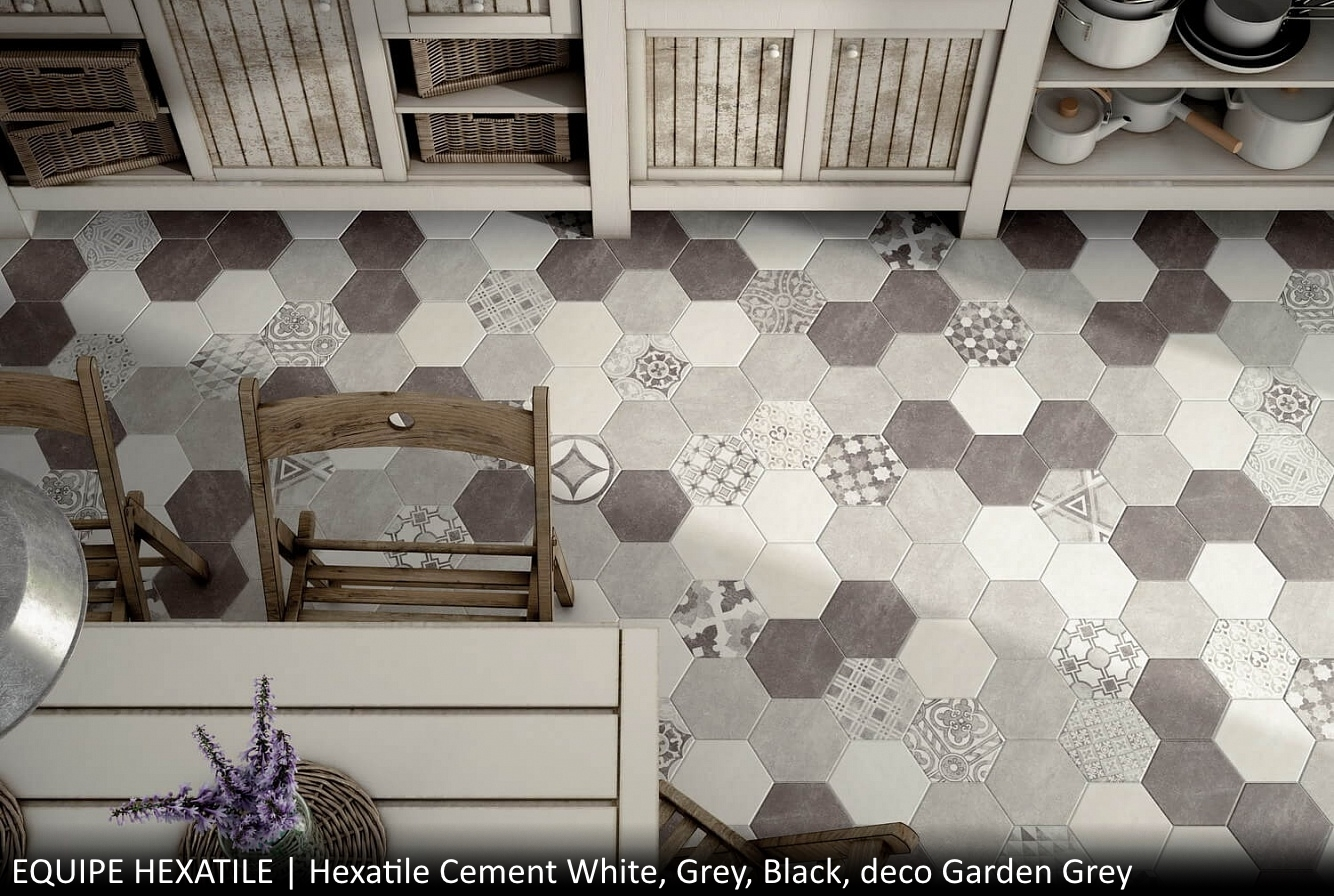 Hexatile Cement White, Grey, Black, deco Garden Grey